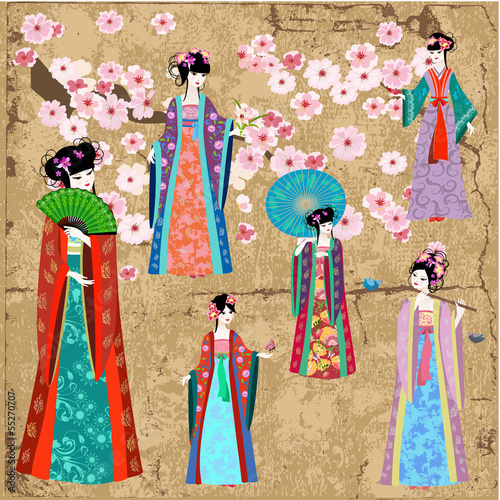 Recess Fitting Floral woman Oriental girl in retro costume