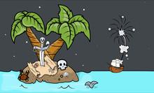 Pirates Coming To An Island - Vector Cartoon Illustration