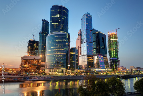 Photo  Moscow-city (Moscow International Business Center) at night