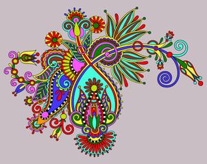 original digital draw line art ornate flower design. Ukrainian t
