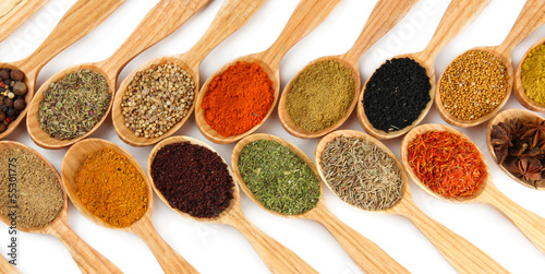 Foto op Aluminium Kruiden 2 Assortment of spices in wooden spoons