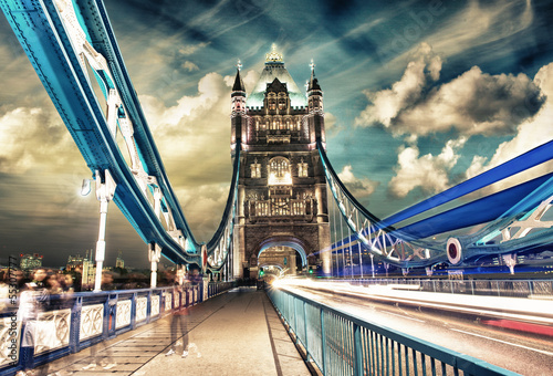Tower Bridge at Night with car light trails - London Wallpaper Mural