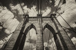 Powerful structure of Brooklyn Bridge Center Pylon on a beautifu