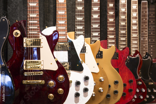 Photo Stands Music store Electric Guitars