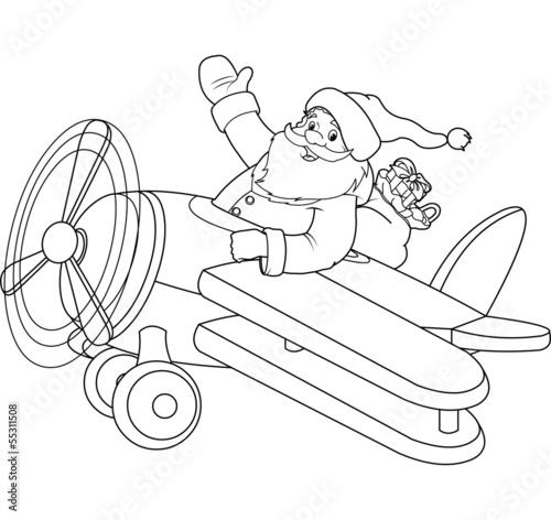 Fotobehang Cartoon draw Santa on the Plane coloring page