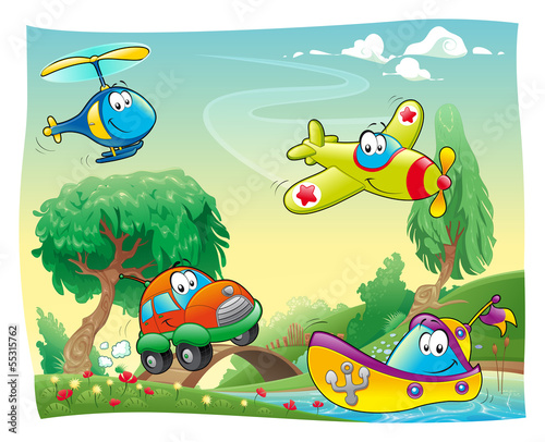 Poster Chambre d enfant Funny vehicles in the countryside.