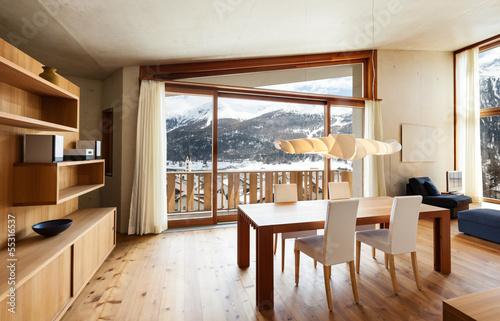 Fotografía  interior mountain house, beautiful dining room