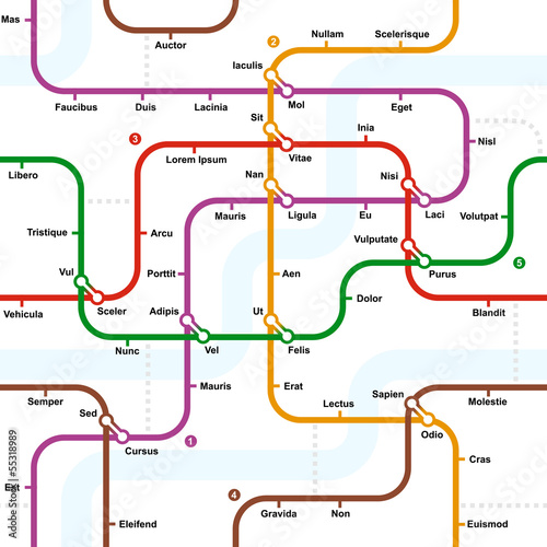 Fotografie, Tablou  Fictional metro map seamless pattern. Vector illustration.