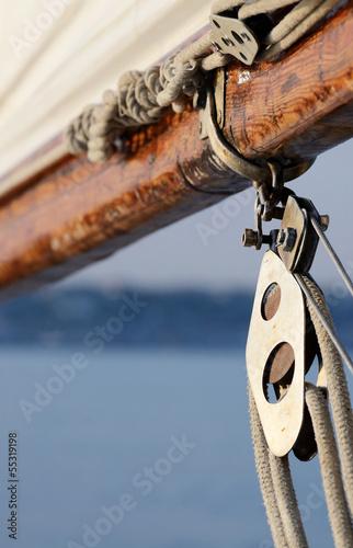 Poster Zeilen Old rigging on wooden sailing boat