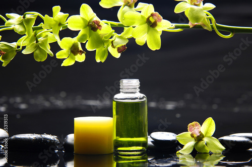 Poster Spa Branch Green orchid and candle ,massage oil on therapy stones