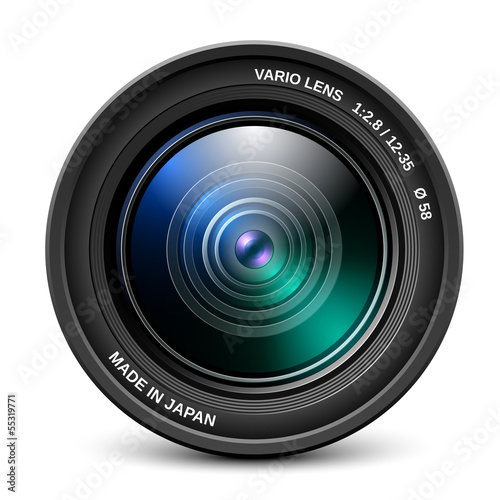 Fotografía  Camera lens isolated on white background, vector illustration