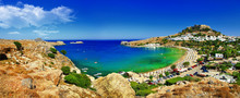Panoramic View Of Lindos Bay, ...