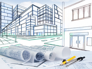 two point perspective sketching of building on street junction