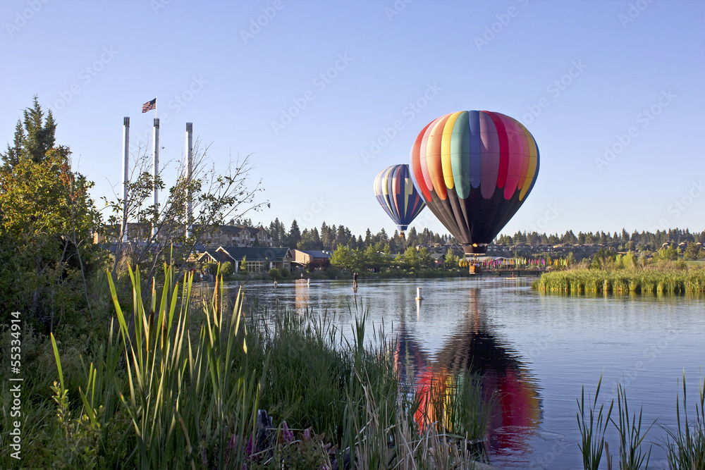 Fototapety, obrazy: Rainbow hot air balloon in The Old Mill district, Bend, Oregon