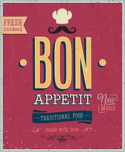Vintage Bon Appetit Poster. Vector Illustration.