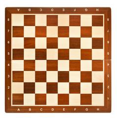 top view of wooden chessboard