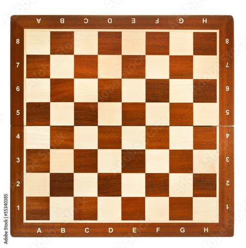 Photo top view of wooden chessboard