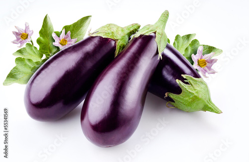 aubergine with leaves and flowers isolated on white Canvas Print