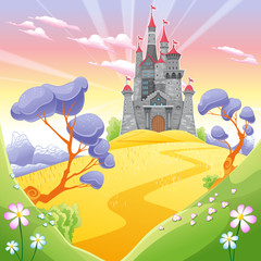 Fototapeta samoprzylepna Landscape with tower.