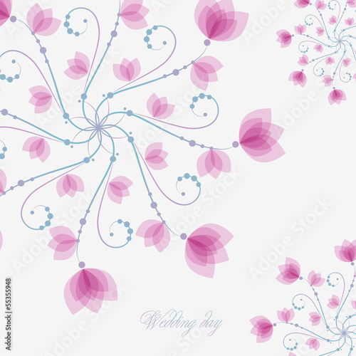 Poster Abstract bloemen Wedding card with pink flowers