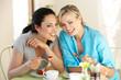 Two Women Having Snack In Cafe