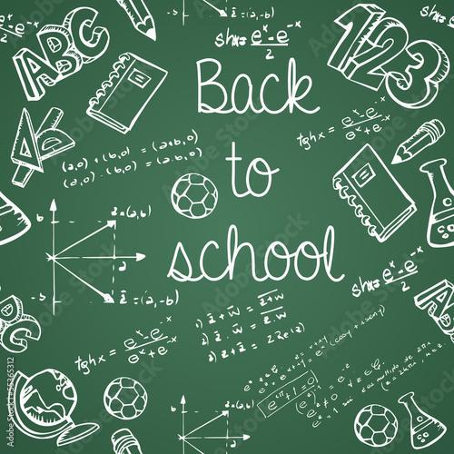 edukacj-ikony-z-powrotem-szkoly-zielonego-chalkboard-bezszwowy-wzor
