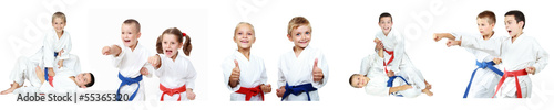 Spoed Foto op Canvas Vechtsport Children athletes perform reception self-defense collage