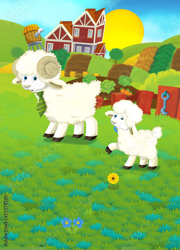 Poster Ranch Cartoon illustration with sheep on the farm
