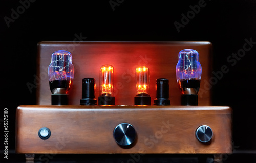 electronic amplifier with glowing bulb lamp Canvas Print