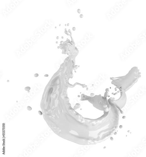 Foto op Aluminium Milkshake Milk splash isolated on white