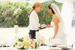 canvas print picture - Bride With Wedding Planner In Marquee
