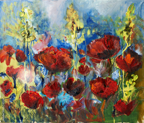 Obraz w ramie oil painting picture of red spring poppy