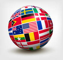 Flags Of The World In Globe. V...