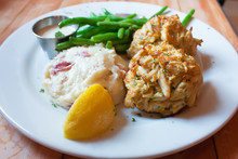 Seafood  Crab Cake  On Dish Ty...