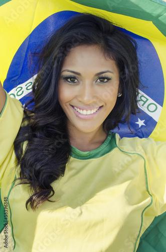 Fotografia  Beautiful happy smiling Brazil soccer fan