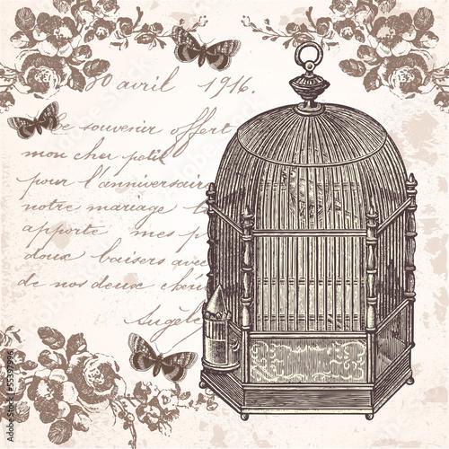 Deurstickers Vogels in kooien La cage aux oiseaux