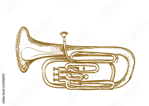 Photo hand drawn baritone horn