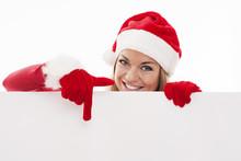 Santa Woman Pointing At Blank ...