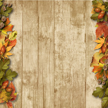 Vintage Wooden Background With...