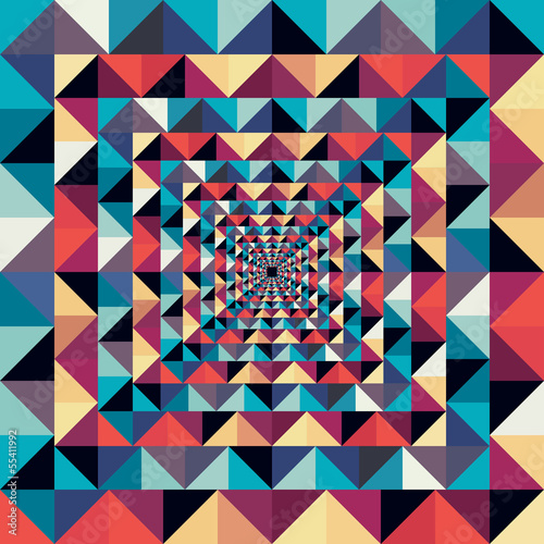 Poster ZigZag Colorful retro abstract visual effect seamless pattern.