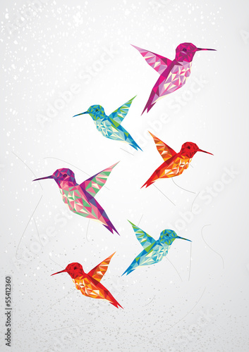 Door stickers Geometric animals Beautiful humming birds illustration.