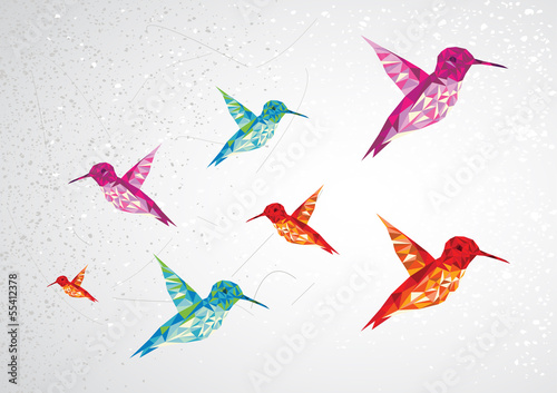 Door stickers Geometric animals Colorful humming birds illustration.