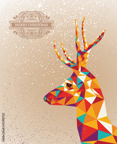 Poster Geometric animals Merry Christmas colorful reindeer shape background.