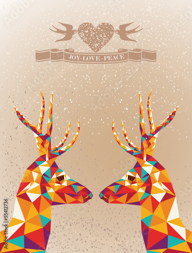Poster Geometric animals Merry Christmas colorful reindeers shape.