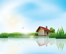 Beautiful Sunny Landscape With House And A Lake