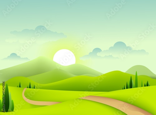 Deurstickers Lime groen green landscape for you design