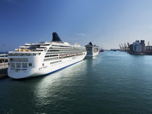 Cruise Ships In Port Of Barcel...