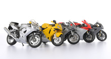 Five Toy Motorcycle On White Background