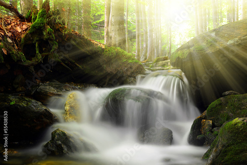 Waterfall on the White creek -  Sumava , Czech Republic
