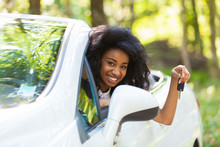 Young Black Teenage Driver Holding Car Keys Driving Her New Car